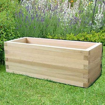 categories oblong wooden trough garden planters oak. Black Bedroom Furniture Sets. Home Design Ideas